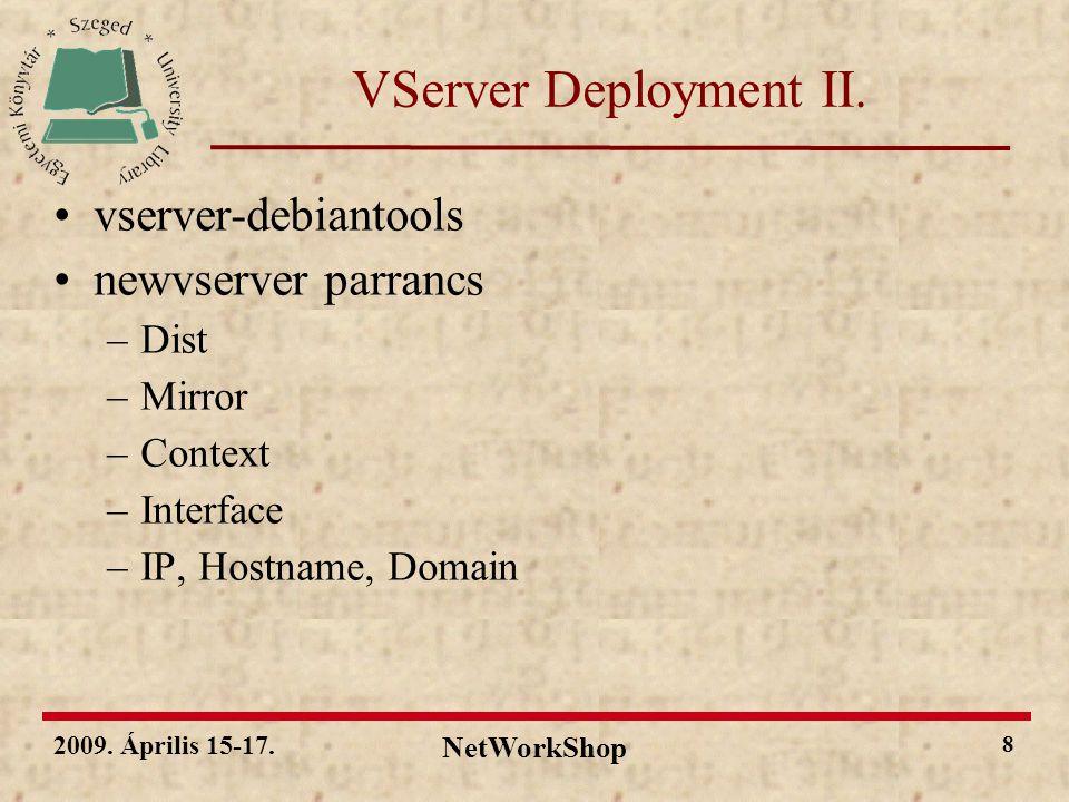 2009. Április 15-17. NetWorkShop 19 Köszönöm a figyelmet!