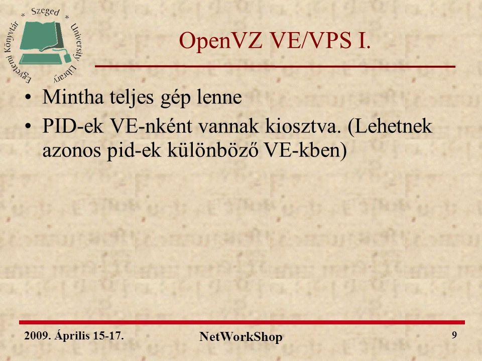 2009.Április 15-17. NetWorkShop 10 OpenVZ VE/VPS II.