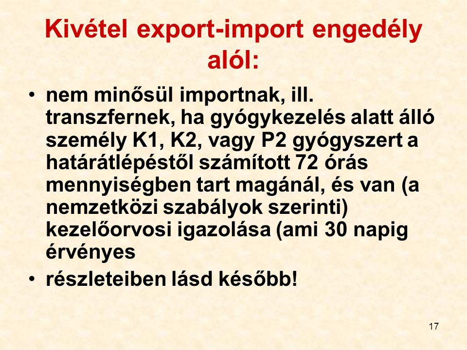 17 Kivétel export-import engedély alól: nem minősül importnak, ill. transzfernek, ha gyógykezelés alatt álló személy K1, K2, vagy P2 gyógyszert a hatá