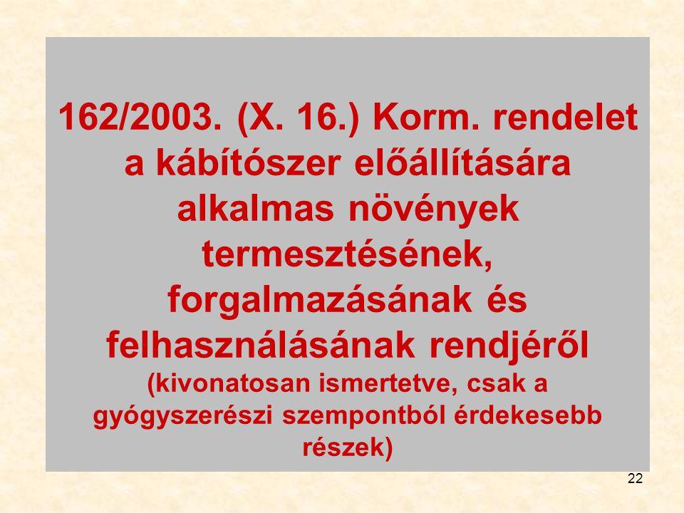 22 162/2003. (X. 16.) Korm. rendelet a kábítószer előállítására alkalmas növények termesztésének, forgalmazásának és felhasználásának rendjéről (kivon