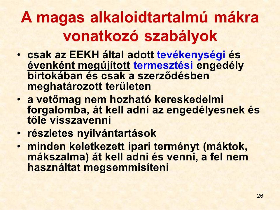 26 A magas alkaloidtartalmú mákra vonatkozó szabályok csak az EEKH által adott tevékenységi és évenként megújított termesztési engedély birtokában és