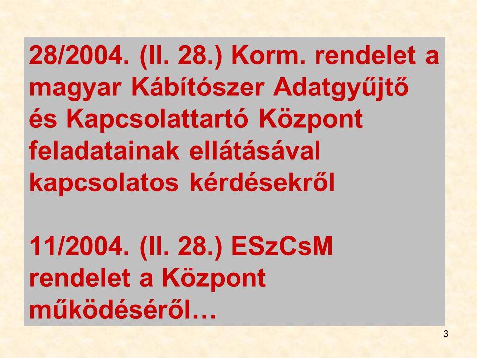 3 28/2004. (II. 28.) Korm. rendelet a magyar Kábítószer Adatgyűjtő és Kapcsolattartó Központ feladatainak ellátásával kapcsolatos kérdésekről 11/2004.