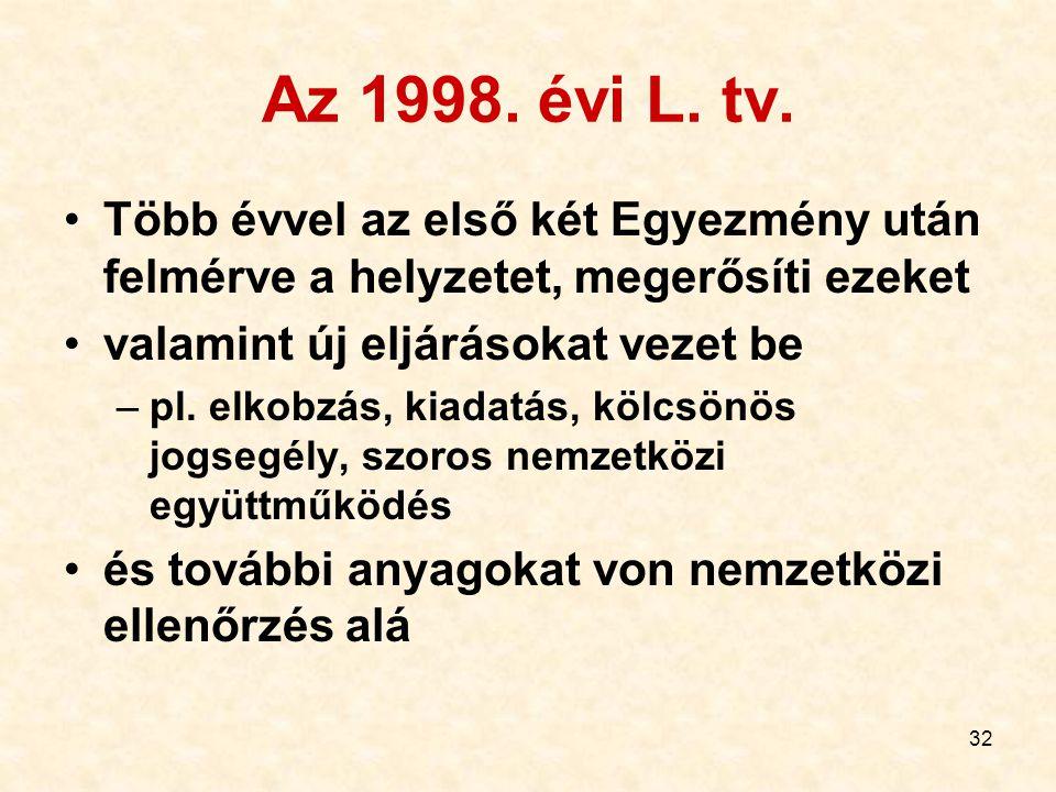 32 Az 1998. évi L. tv. Több évvel az első két Egyezmény után felmérve a helyzetet, megerősíti ezeket valamint új eljárásokat vezet be –pl. elkobzás, k