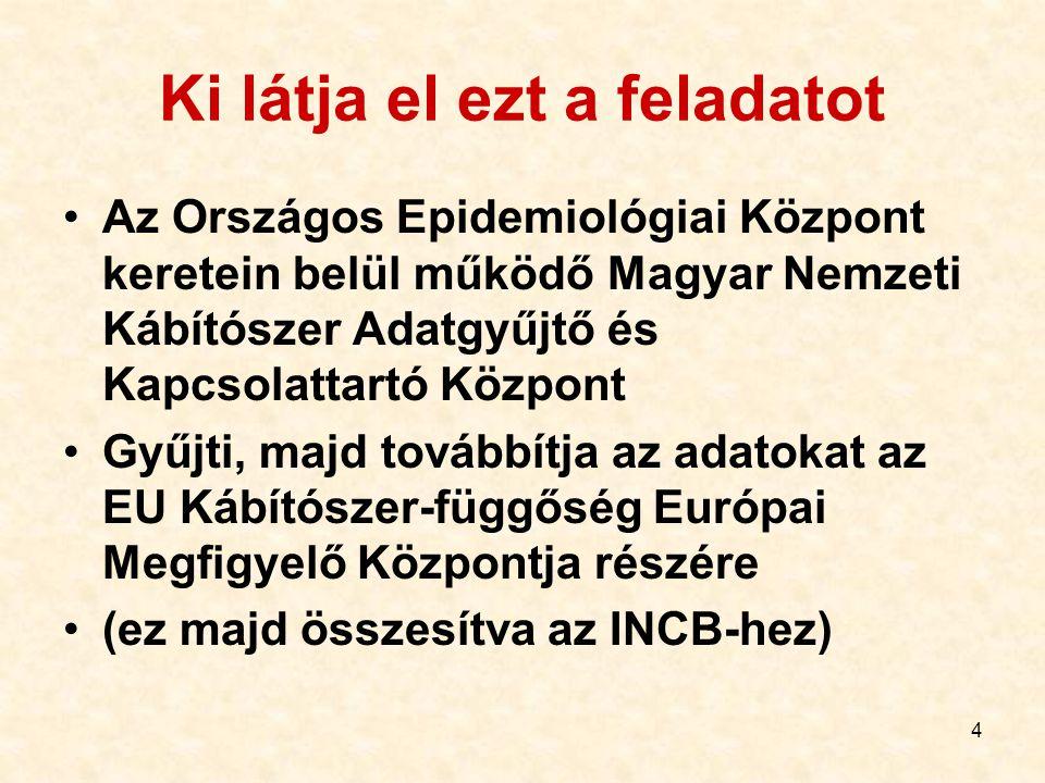 4 Ki látja el ezt a feladatot Az Országos Epidemiológiai Központ keretein belül működő Magyar Nemzeti Kábítószer Adatgyűjtő és Kapcsolattartó Központ