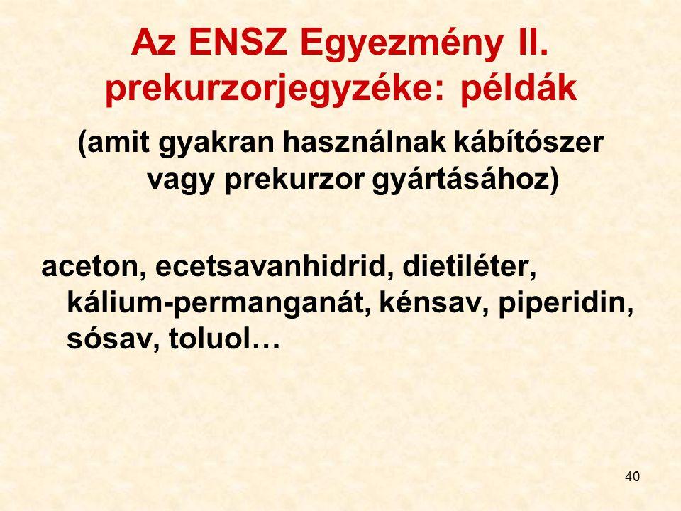 40 Az ENSZ Egyezmény II. prekurzorjegyzéke: példák (amit gyakran használnak kábítószer vagy prekurzor gyártásához) aceton, ecetsavanhidrid, dietiléter