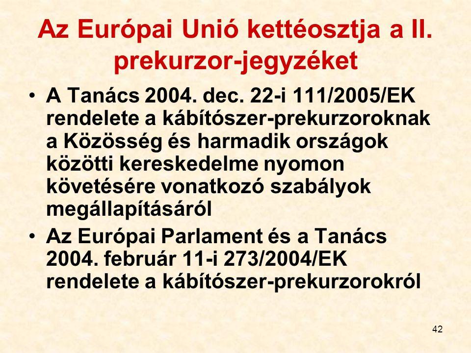 42 Az Európai Unió kettéosztja a II. prekurzor-jegyzéket A Tanács 2004. dec. 22-i 111/2005/EK rendelete a kábítószer-prekurzoroknak a Közösség és harm