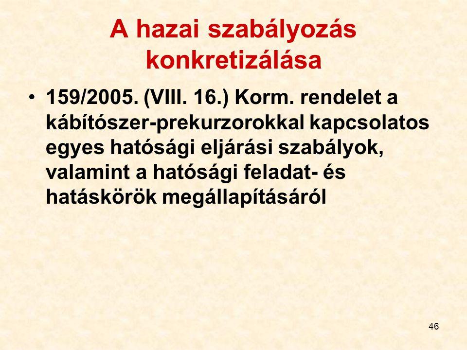 46 A hazai szabályozás konkretizálása 159/2005. (VIII. 16.) Korm. rendelet a kábítószer-prekurzorokkal kapcsolatos egyes hatósági eljárási szabályok,