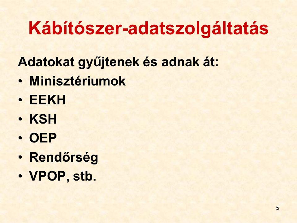 5 Kábítószer-adatszolgáltatás Adatokat gyűjtenek és adnak át: Minisztériumok EEKH KSH OEP Rendőrség VPOP, stb.
