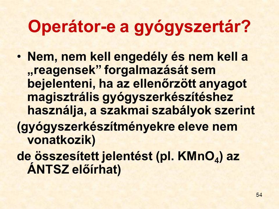 """54 Operátor-e a gyógyszertár? Nem, nem kell engedély és nem kell a """"reagensek"""" forgalmazását sem bejelenteni, ha az ellenőrzött anyagot magisztrális g"""