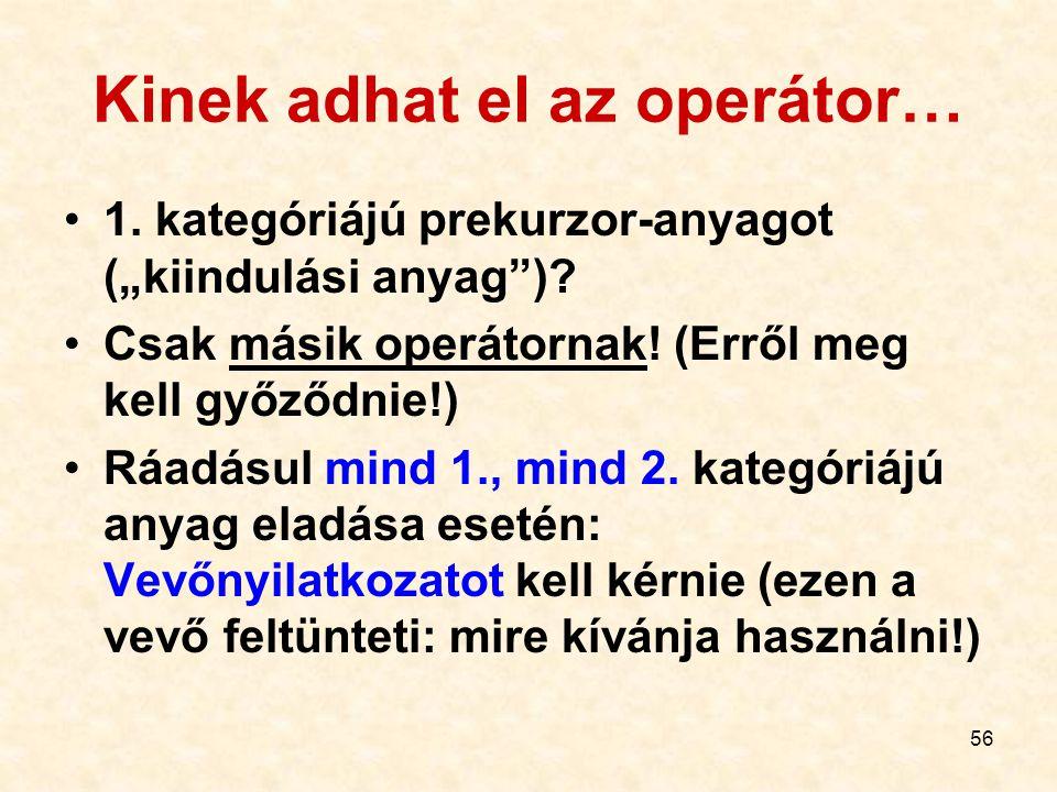 """56 Kinek adhat el az operátor… 1. kategóriájú prekurzor-anyagot (""""kiindulási anyag"""")? Csak másik operátornak! (Erről meg kell győződnie!) Ráadásul min"""