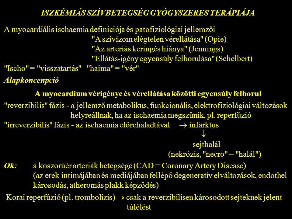 ISZKÉMIÁS SZÍVBETEGSÉG GYÓGYSZERES TERÁPIÁJA A myocardiális ischaemia definiciója és patofiziológiai jellemzői