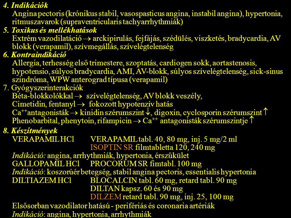 4. Indikációk Angina pectoris (krónikus stabil, vasospasticus angina, instabil angina), hypertonia, ritmuszavarok (supraventricularis tachyarrhythmiák