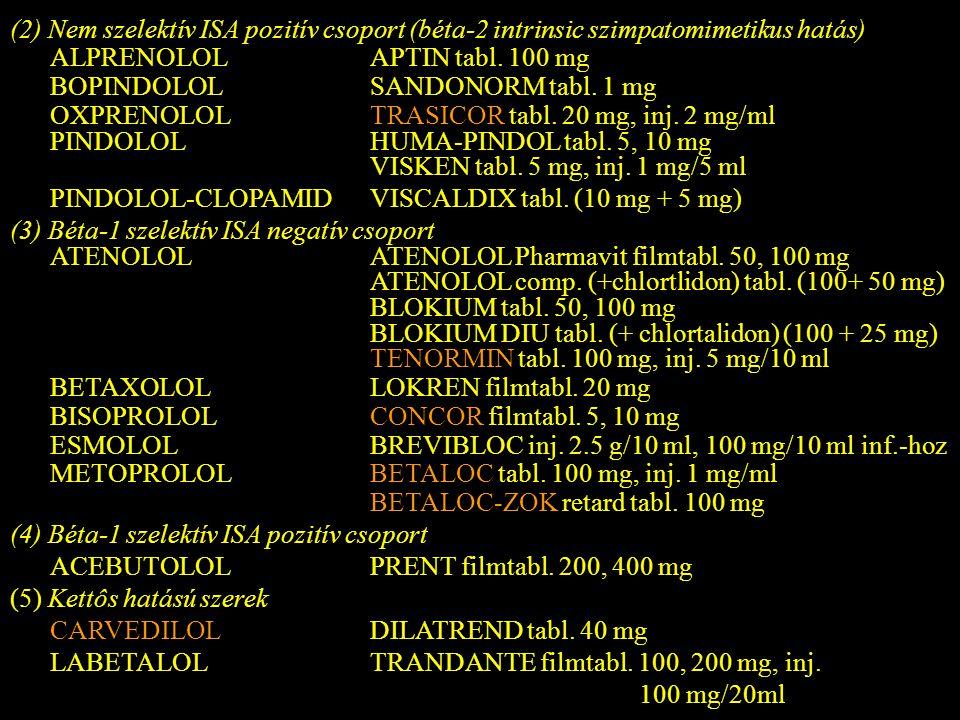 (2) Nem szelektív ISA pozitív csoport (béta-2 intrinsic szimpatomimetikus hatás) ALPRENOLOLAPTIN tabl. 100 mg BOPINDOLOLSANDONORM tabl. 1 mg OXPRENOLO