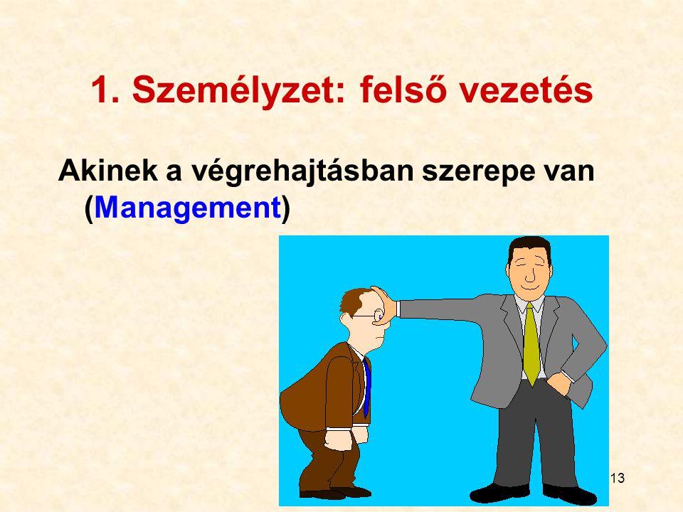 13 1. Személyzet: felső vezetés Akinek a végrehajtásban szerepe van (Management)