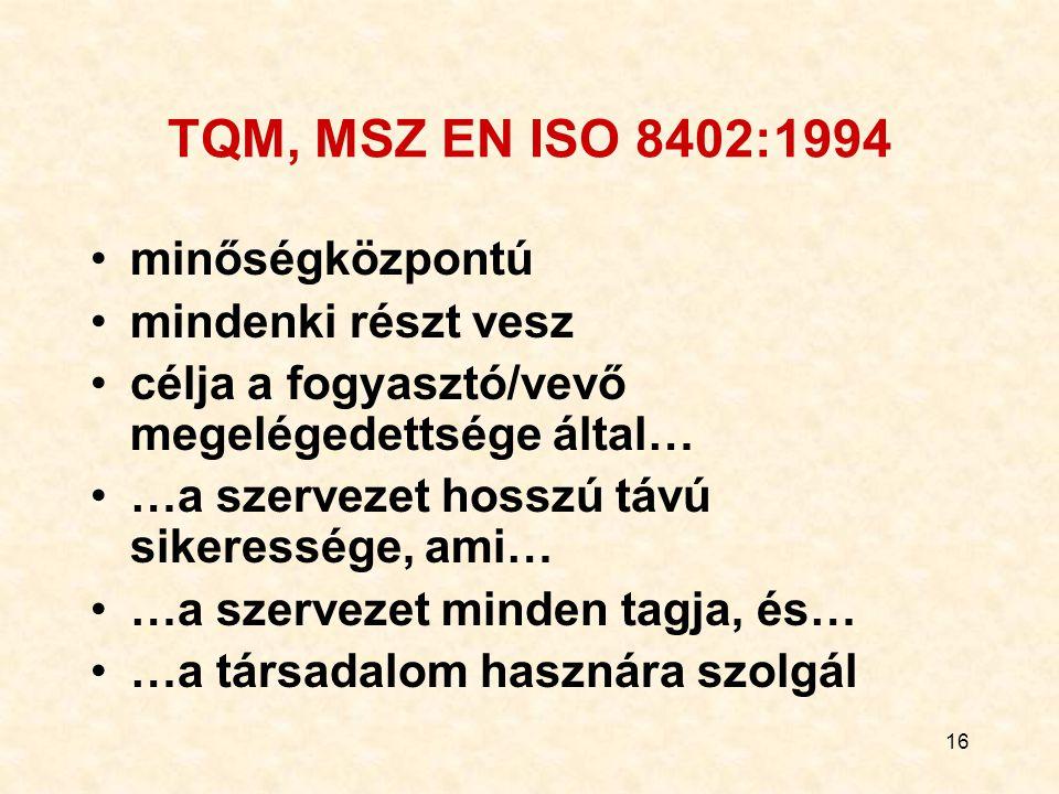 16 TQM, MSZ EN ISO 8402:1994 minőségközpontú mindenki részt vesz célja a fogyasztó/vevő megelégedettsége által… …a szervezet hosszú távú sikeressége,