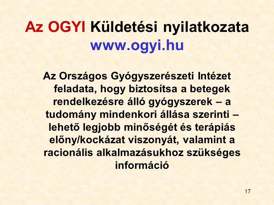 17 Az OGYI Küldetési nyilatkozata www.ogyi.hu Az Országos Gyógyszerészeti Intézet feladata, hogy biztosítsa a betegek rendelkezésre álló gyógyszerek –