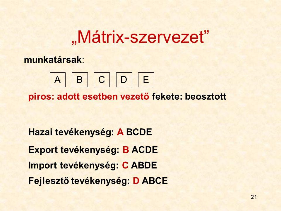 """21 """"Mátrix-szervezet"""" ABCDE munkatársak: Hazai tevékenység: A BCDE piros: adott esetben vezető fekete: beosztott Export tevékenység: B ACDE Import tev"""
