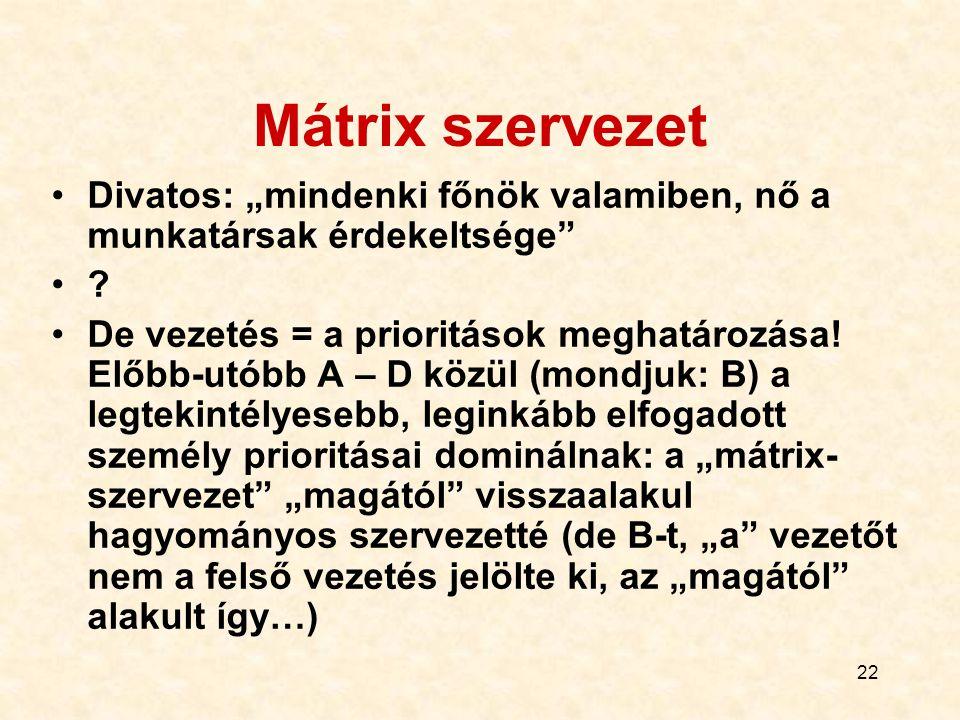 """22 Mátrix szervezet Divatos: """"mindenki főnök valamiben, nő a munkatársak érdekeltsége"""" ? De vezetés = a prioritások meghatározása! Előbb-utóbb A – D k"""