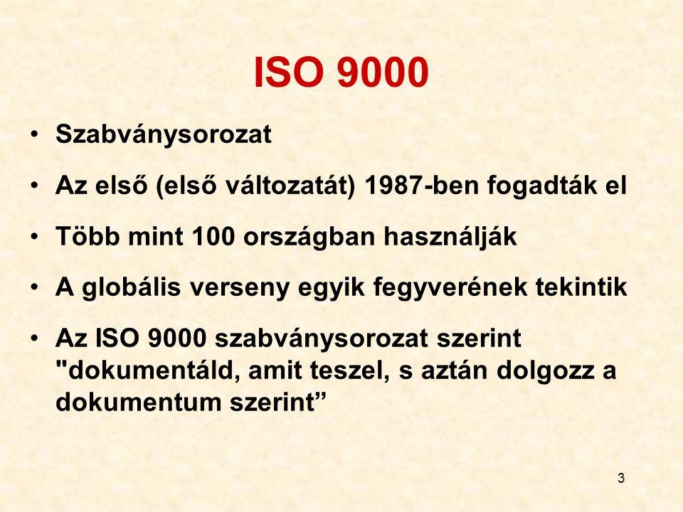 4 Mivel foglalkozik az ISO 9000 sorozat (példák) 50 körül Minőségirányítási szakszótár, általános minőségügyi irányelvek a vevő-gyártó- tanúsítói körben, a fejlesztés-gyártás- tanúsítás-vevőszolgálat modellje, a végellenőrzés modellje, mérő- berendezések minőségbiztosítása, a szoftverfejlesztésre való kiterjesztés, szolgáltatásra való kiterjesztés, stb.: 50 körül!
