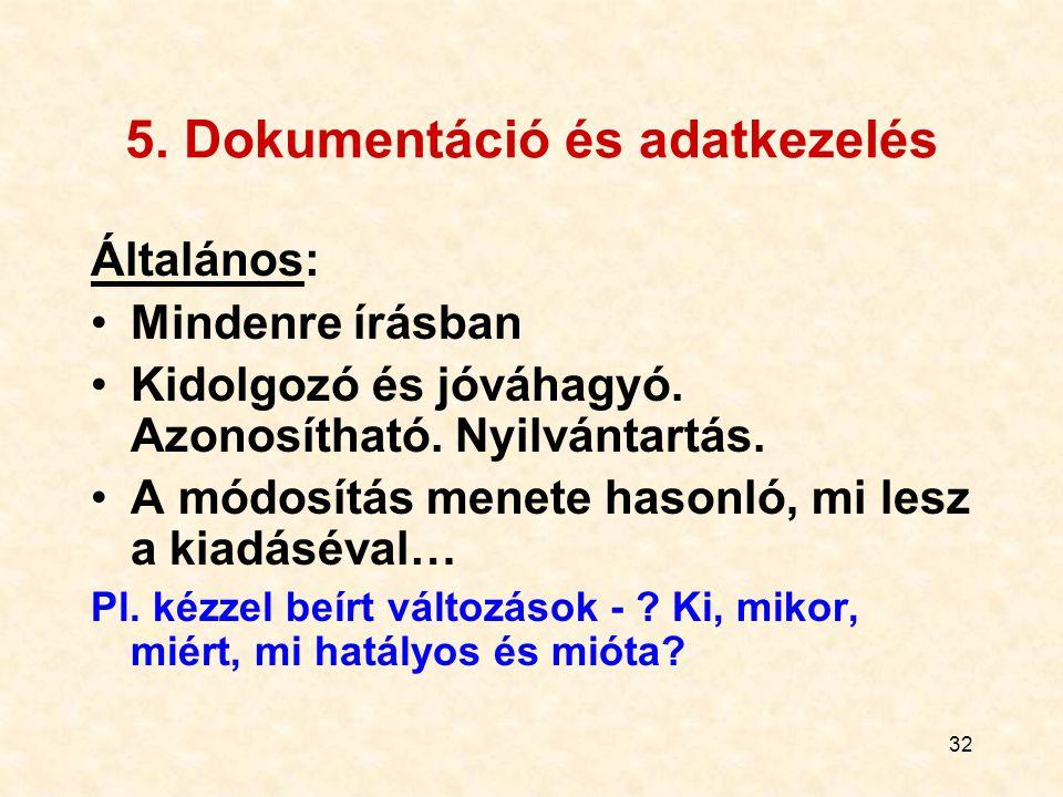 33 A dokumentáció rendszere Szabályozó dokumentumok - külső pl.