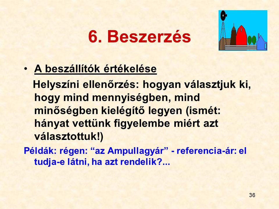 37 Kapcsolat a beszállítókkal Kiválasztásuk (értékelés) Támogatásuk (pl.