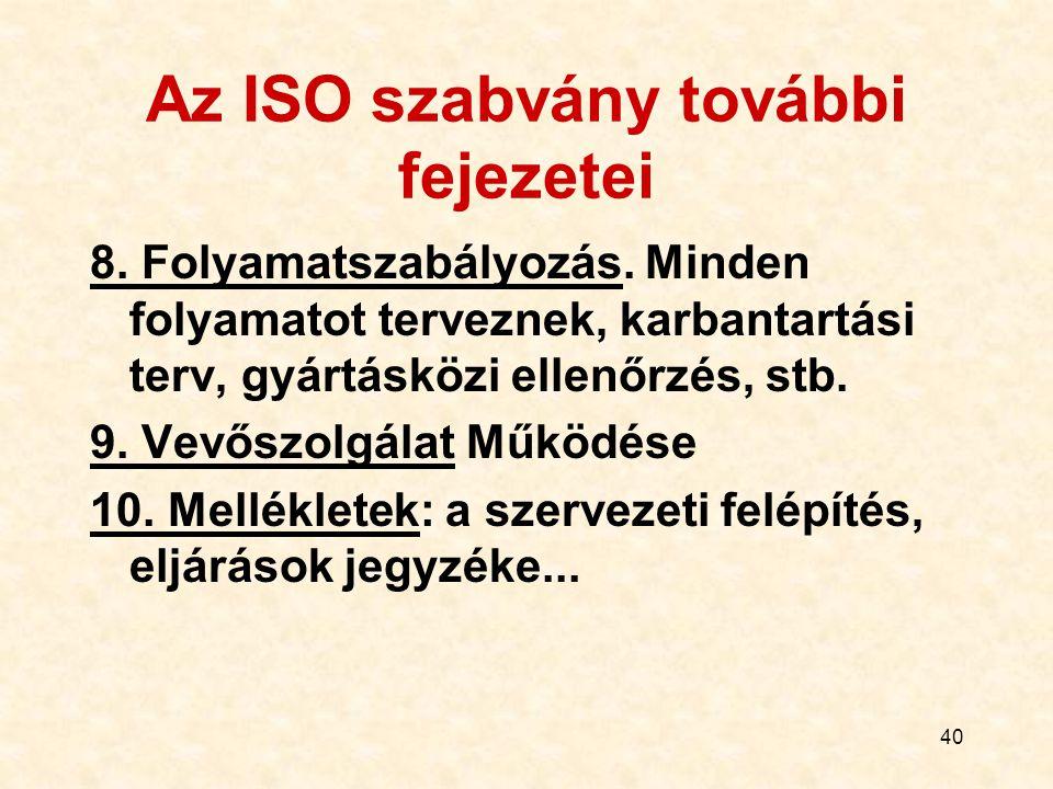 40 Az ISO szabvány további fejezetei 8. Folyamatszabályozás. Minden folyamatot terveznek, karbantartási terv, gyártásközi ellenőrzés, stb. 9. Vevőszol