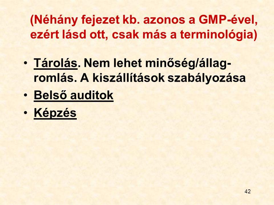 42 (Néhány fejezet kb. azonos a GMP-ével, ezért lásd ott, csak más a terminológia) Tárolás. Nem lehet minőség/állag- romlás. A kiszállítások szabályoz