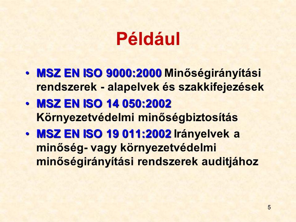 5 Például MSZ EN ISO 9000:2000MSZ EN ISO 9000:2000 Minőségirányítási rendszerek - alapelvek és szakkifejezések MSZ EN ISO 14 050:2002MSZ EN ISO 14 050