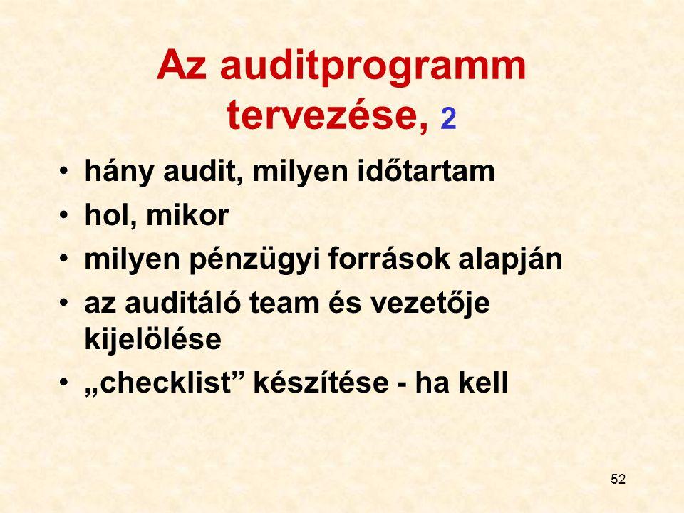 """52 Az auditprogramm tervezése, 2 hány audit, milyen időtartam hol, mikor milyen pénzügyi források alapján az auditáló team és vezetője kijelölése """"che"""