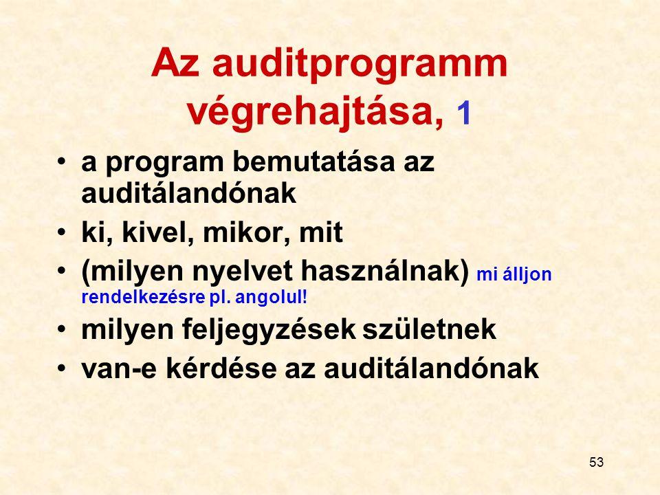 54 Az auditprogramm végrehajtása, 2 a szükséges információ gyűjtése és helyességének ellenőrzése az írott dokumentáció, az elmondott és a tapasztalt tevékenységek összevetése az eredmény bemutatása az auditáltnak jelentés az auditról