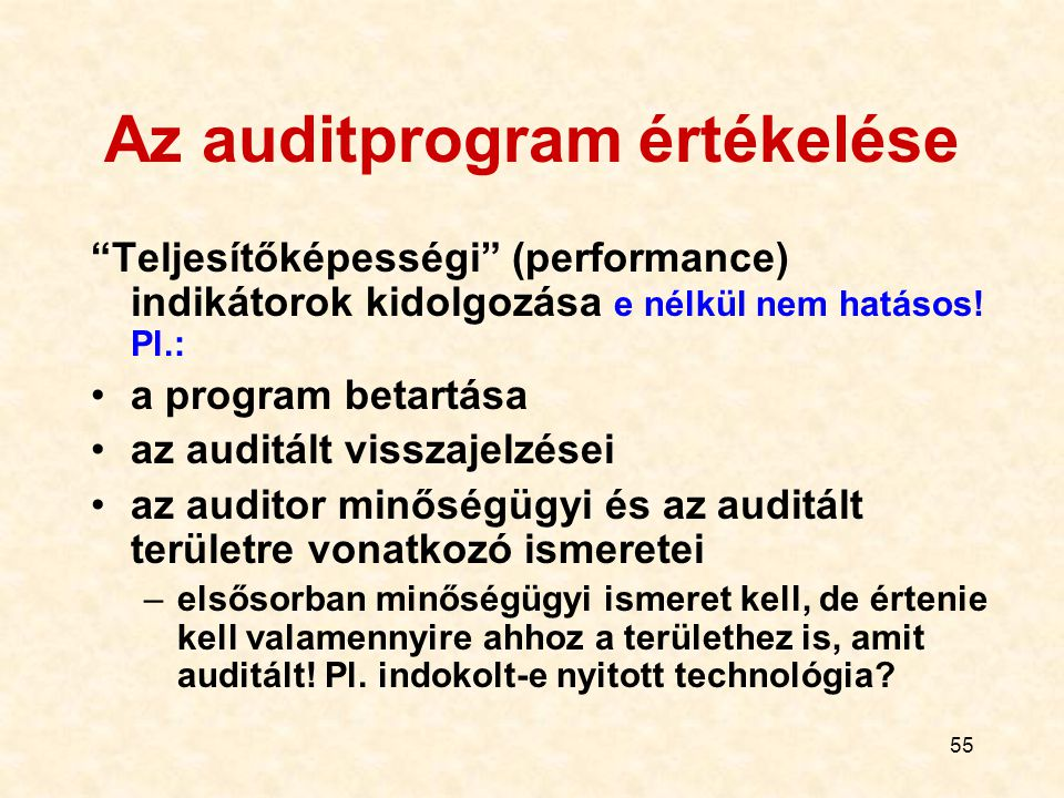 """55 Az auditprogram értékelése """"Teljesítőképességi"""" (performance) indikátorok kidolgozása e nélkül nem hatásos! Pl.: a program betartása az auditált vi"""