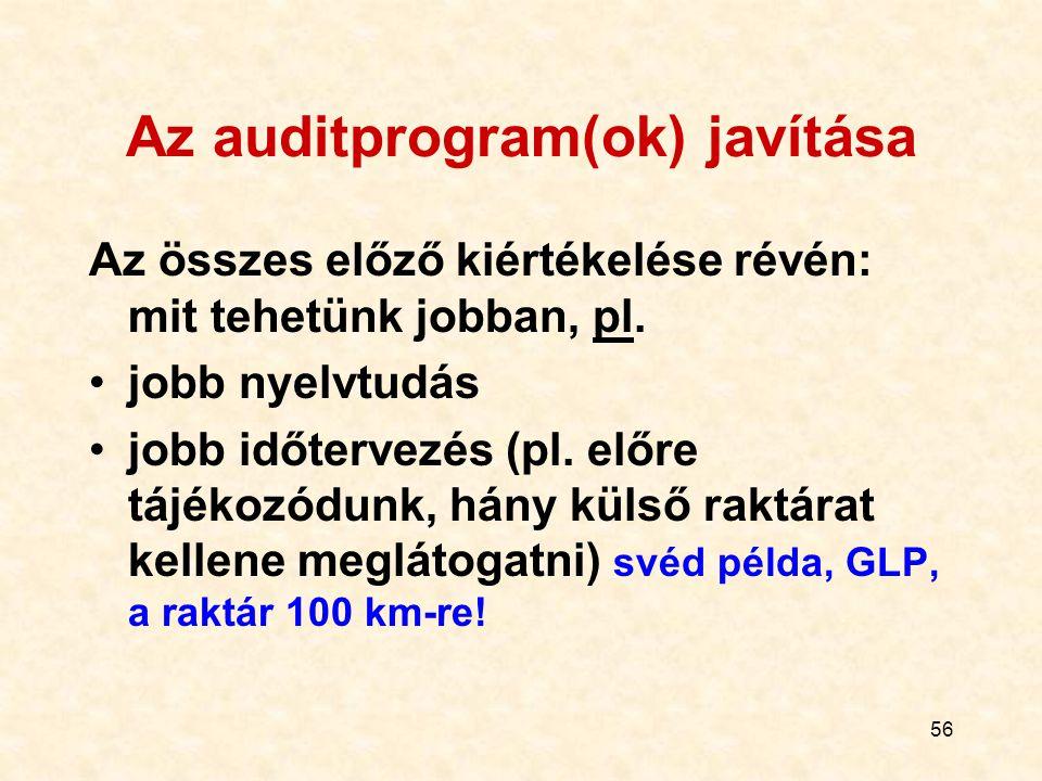 56 Az auditprogram(ok) javítása Az összes előző kiértékelése révén: mit tehetünk jobban, pl. jobb nyelvtudás jobb időtervezés (pl. előre tájékozódunk,