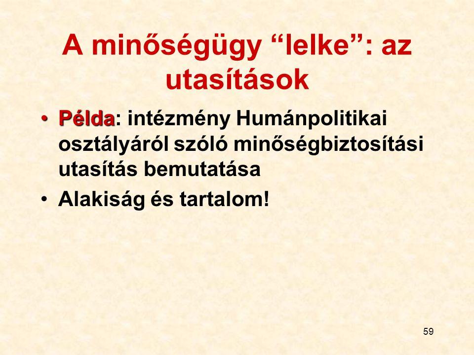 """59 A minőségügy """"lelke"""": az utasítások PéldaPélda: intézmény Humánpolitikai osztályáról szóló minőségbiztosítási utasítás bemutatása Alakiság és tarta"""