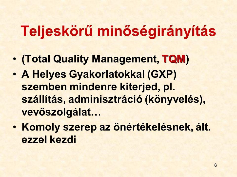 6 Teljeskörű minőségirányítás TQM(Total Quality Management, TQM) A Helyes Gyakorlatokkal (GXP) szemben mindenre kiterjed, pl. szállítás, adminisztráci