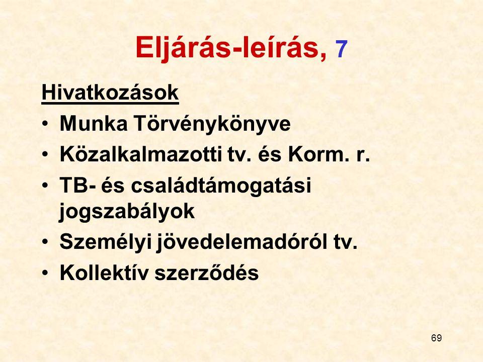 69 Eljárás-leírás, 7 Hivatkozások Munka Törvénykönyve Közalkalmazotti tv. és Korm. r. TB- és családtámogatási jogszabályok Személyi jövedelemadóról tv