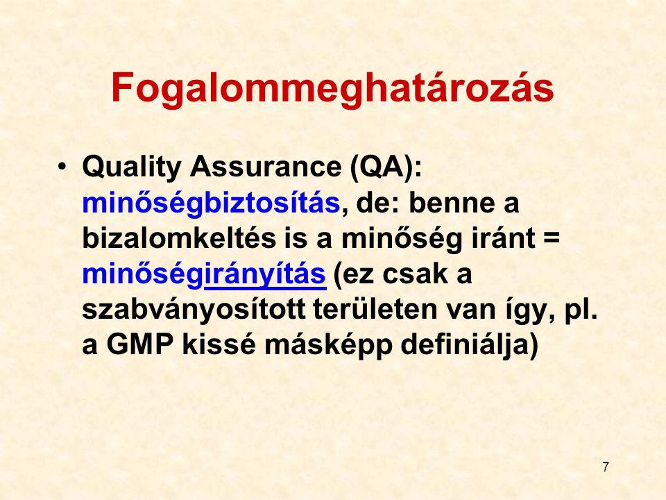 7 Fogalommeghatározás Quality Assurance (QA): minőségbiztosítás, de: benne a bizalomkeltés is a minőség iránt = minőségirányítás (ez csak a szabványos