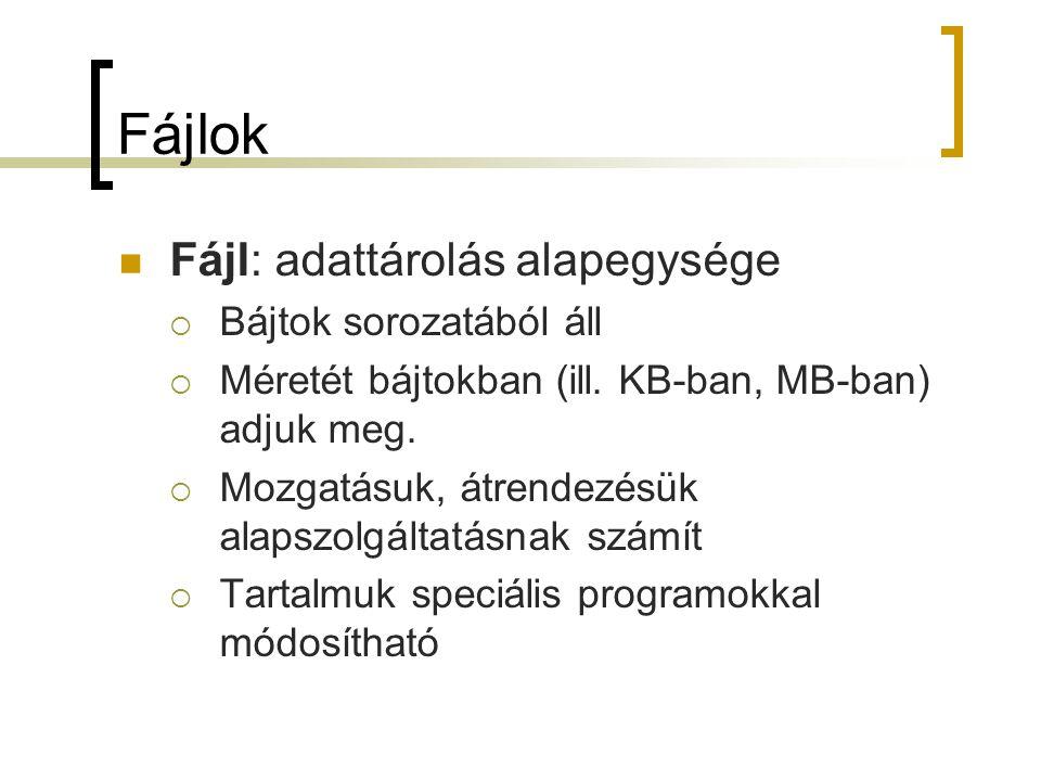 Fájlok Fájl: adattárolás alapegysége  Bájtok sorozatából áll  Méretét bájtokban (ill. KB-ban, MB-ban) adjuk meg.  Mozgatásuk, átrendezésük alapszol