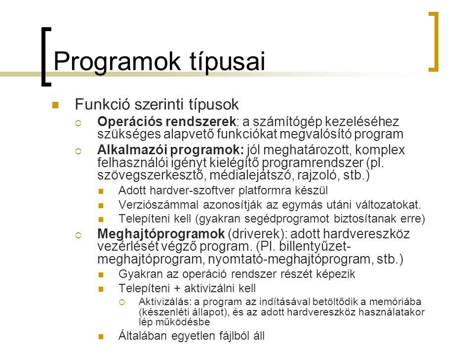 Programok típusai Funkció szerinti típusok  Operációs rendszerek: a számítógép kezeléséhez szükséges alapvető funkciókat megvalósító program  Alkalm