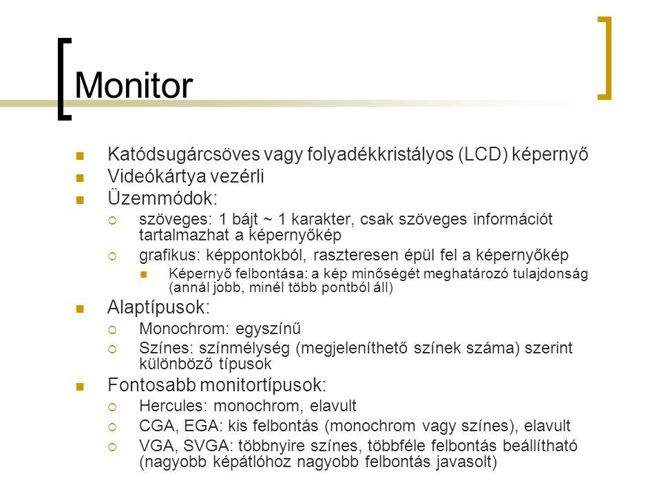 Monitor Katódsugárcsöves vagy folyadékkristályos (LCD) képernyő Videókártya vezérli Üzemmódok:  szöveges: 1 bájt ~ 1 karakter, csak szöveges informác