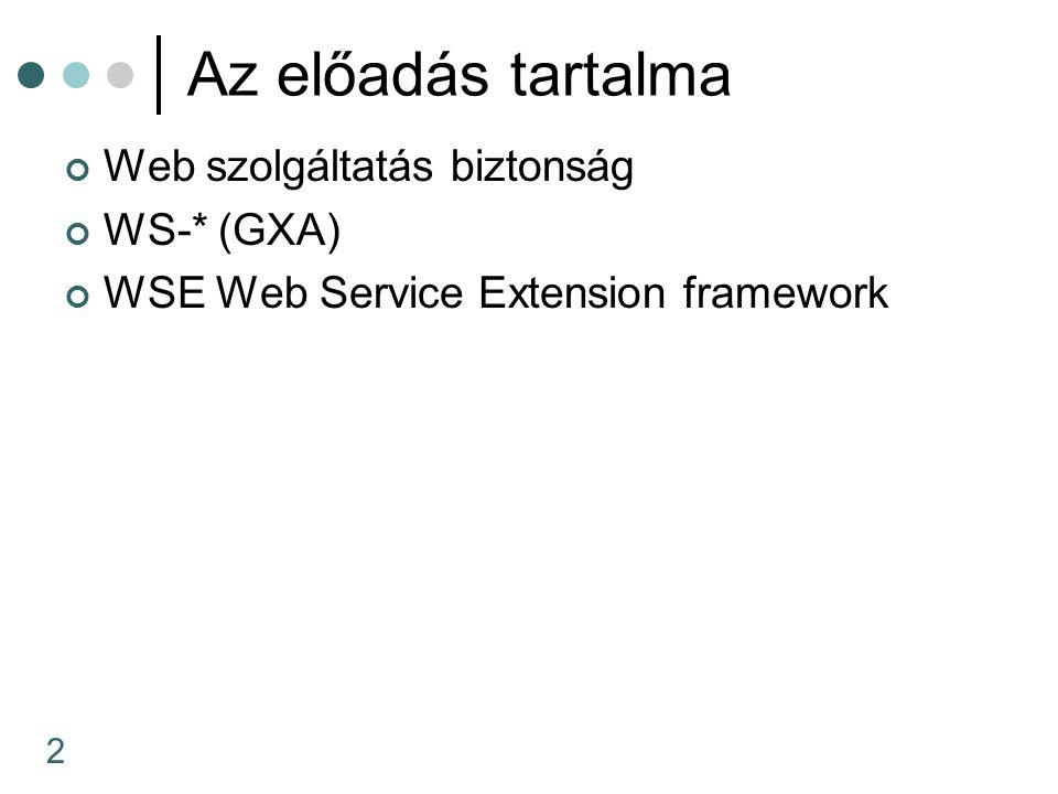 53 Szerver példa public class UsernameReflector{ [WebMethod] public string GetUsername() { string Username = string.Empty; SoapContext reqCtx = HttpSoapContext.RequestContext; foreach(SecurityToken tok in reqCtx.Security.Tokens) { if (tok is UsernameToken) { Username = ((UsernameToken)tok).Username; break; } if (Username == string.Empty) throw new Exception( No username ); return Username; }