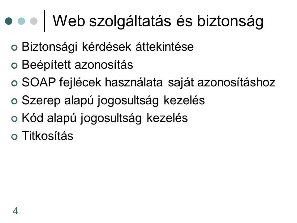 25 HttpModules használata Minden ASP.NET alkalmazás rendelkezik egy HttpApplication objektummal amelynél feliratkozhat bizonyos eseményekre pl.: AuthenticateRequest Ezekre felíratkozhatunk a Global.asax fájlba is (ekkor az egész alkalmazásra adunk meg paramétereket) A másik megoldás a HttpModules osztály melyet a web.config fájlban adhatunk meg public sealed class CustomAuthenticationModule : IHttpModule { public void Init(HttpApplication app) { app.AuthenticateRequest += new EventHandler(this.OnAuthenticate);}