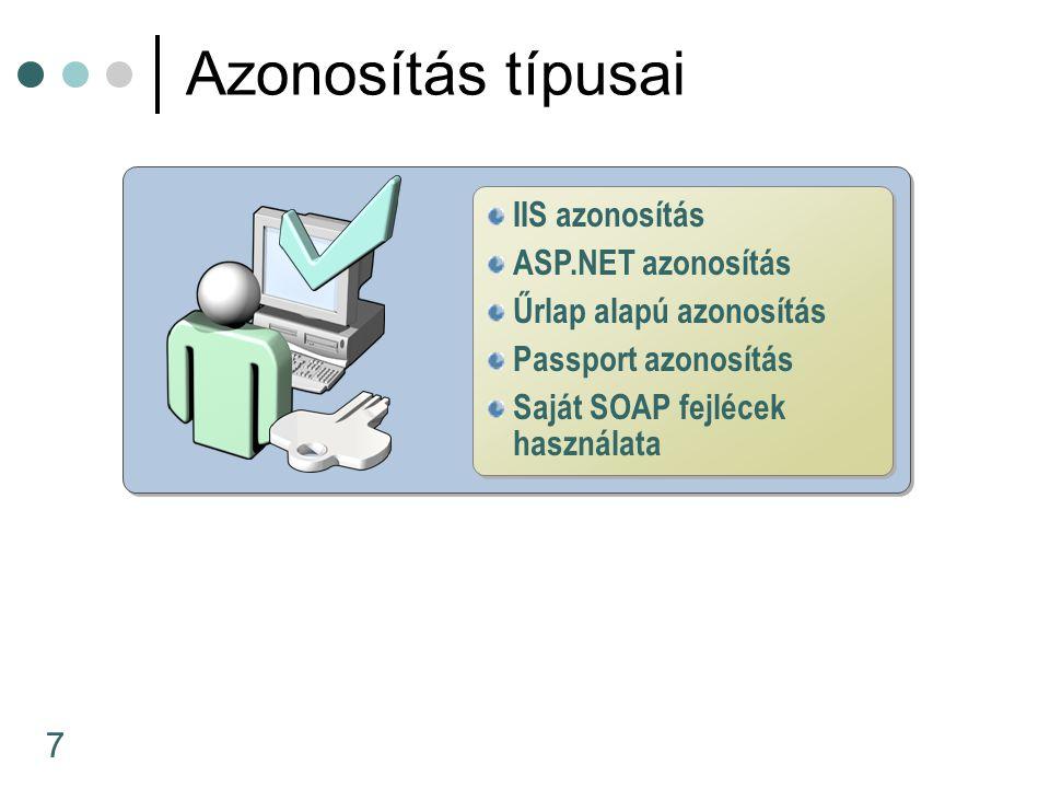 18 SOAP fejlécek WSDL-ből nyerhetőek kiWSDL Web szolgáltatás proxy-k és SOAP fejlécek SOAP fejlécek használata web szolgáltatásokban SOAP fejléc, fogyasztóban Web Service Consumer [SoapHeaderAttribute( WoodgroveAuthInfoValue , Required=false)] public Acct GetAccount(int acctID) {...