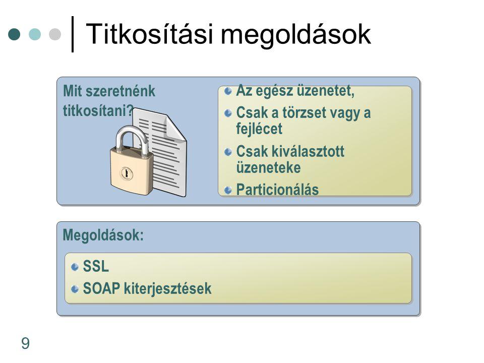 30 Saját SOAP bővítmények A DESCryptoServiceProvider osztály A CryptoStream osztály Titkosításg SOAP bővítményekkel encryptor = des.CreateEncryptor(key, IV); decryptor = des.CreateDecryptor(key, IV); ICryptoTransform encryptor; ICryptoTransform decryptor; encryptor = des.CreateEncryptor(key, IV); decryptor = des.CreateDecryptor(key, IV); CryptoStream cs; cs = new CryptoStream(ms, encryptor, CryptoStreamMode.Write);...