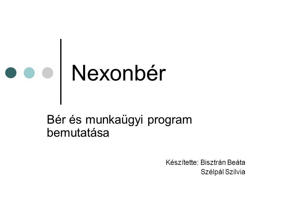 Nexonbér Bér és munkaügyi program bemutatása Készítette: Bisztrán Beáta Szélpál Szilvia