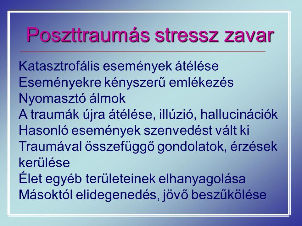 Poszttraumás stressz zavar Katasztrofális események átélése Eseményekre kényszerű emlékezés Nyomasztó álmok A traumák újra átélése, illúzió, halluciná