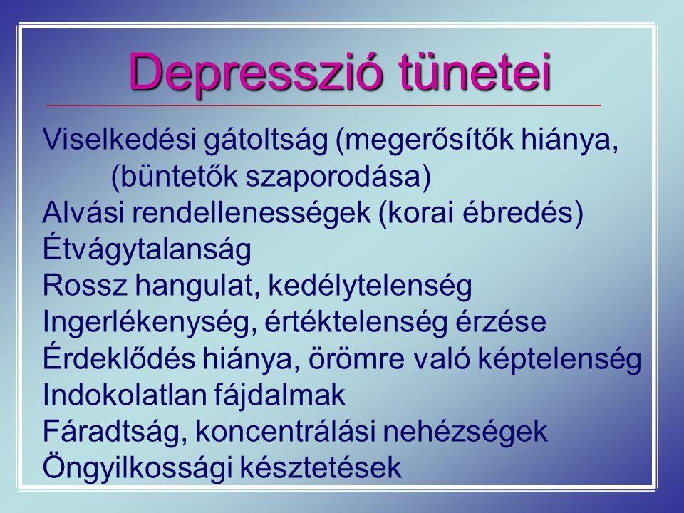 Depresszió tünetei Viselkedési gátoltság (megerősítők hiánya, (büntetők szaporodása) Alvási rendellenességek (korai ébredés) Étvágytalanság Rossz hang