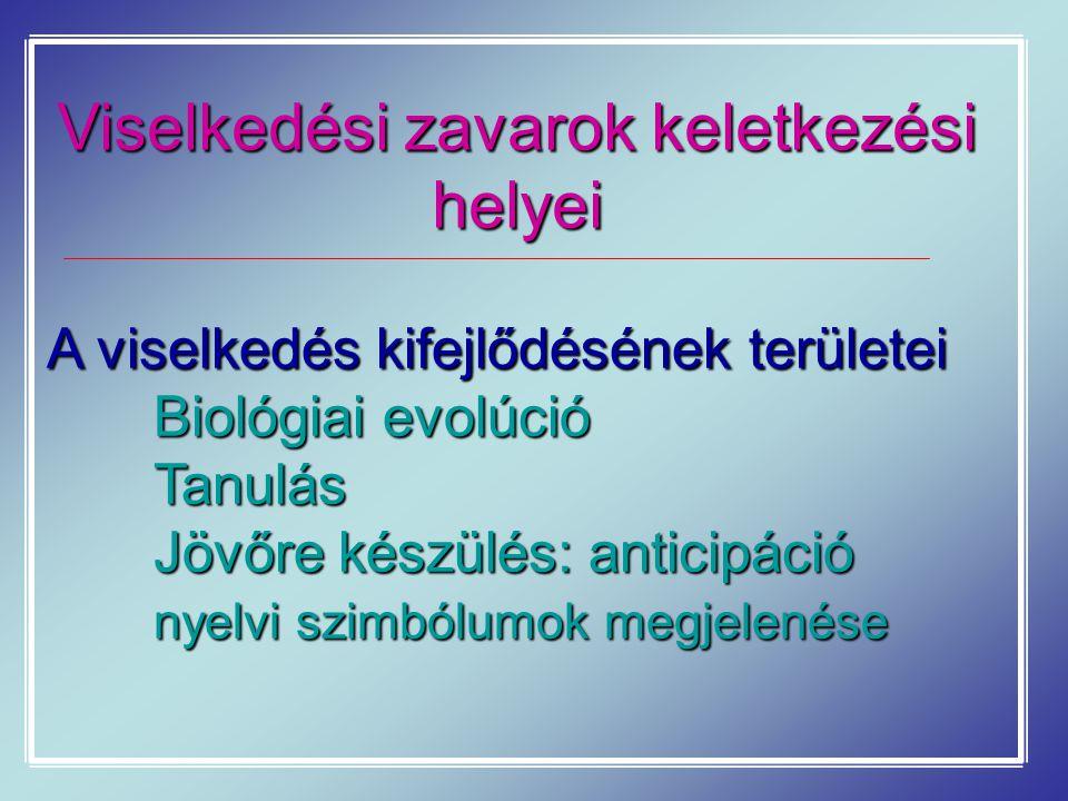 Viselkedési zavarok keletkezési helyei A viselkedés kifejlődésének területei Biológiai evolúció Tanulás Jövőre készülés: anticipáció nyelvi szimbólumo