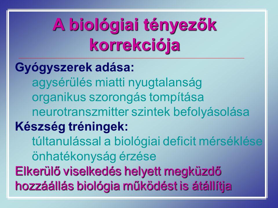 A biológiai tényezők korrekciója Gyógyszerek adása: agysérülés miatti nyugtalanság organikus szorongás tompítása neurotranszmitter szintek befolyásolá