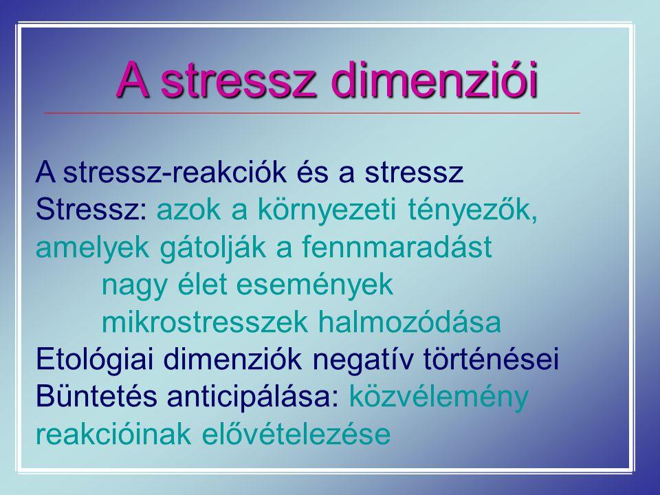 A stressz dimenziói A stressz-reakciók és a stressz Stressz: azok a környezeti tényezők, amelyek gátolják a fennmaradást nagy élet események mikrostre