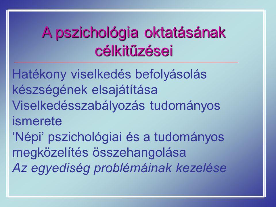 A pszichológia oktatásának célkitűzései Hatékony viselkedés befolyásolás készségének elsajátítása Viselkedésszabályozás tudományos ismerete 'Népi' psz